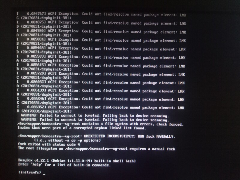 Failed to connect LVMetad, Falling back to device scanning  Astra linux не загружается